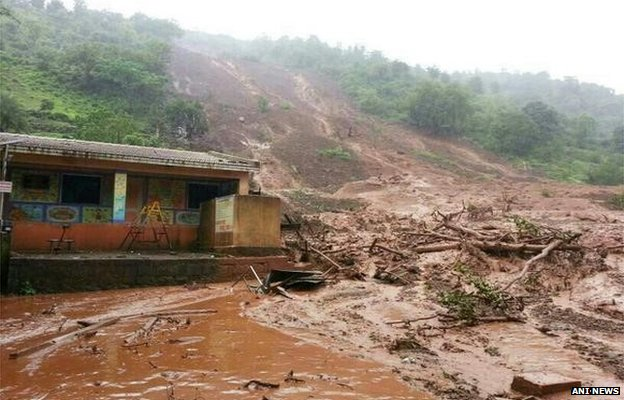Reports say heavy rains triggered the landslide. Photo taken from BBC