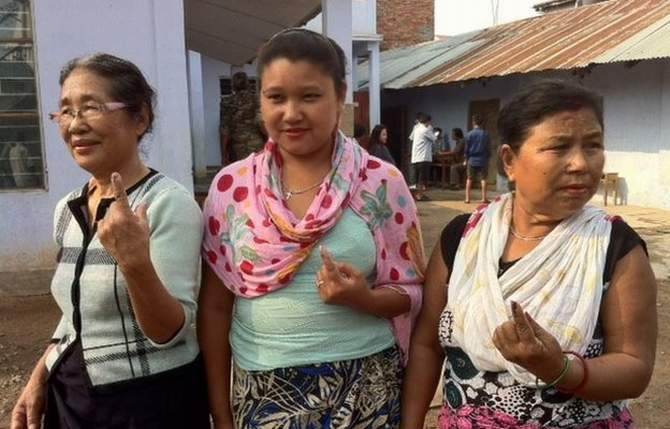 Voters have cast their ballots in the tiny state of Nagaland. The photo is taken from BBC website.
