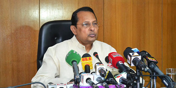 Information Minister Hasanul Haq Inu, addressing a press briefing at Secretariat today, says sorry over government failure to unearth the motive behind Sagar-Runi killing. Photo: STAR