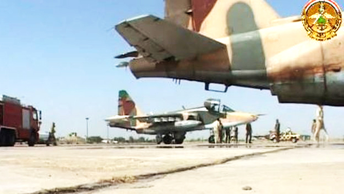 A video posted online appeared to show the fighter jets in Iraq. This photo is taken from BBC Online