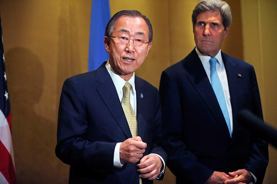 U.N. Secretary-General Ban Ki-moon (L) makes a statement regarding the violence in Gaza, before his meeting with U.S. Secretary of State John Kerry in Cairo, July 24. Photo: Reuters