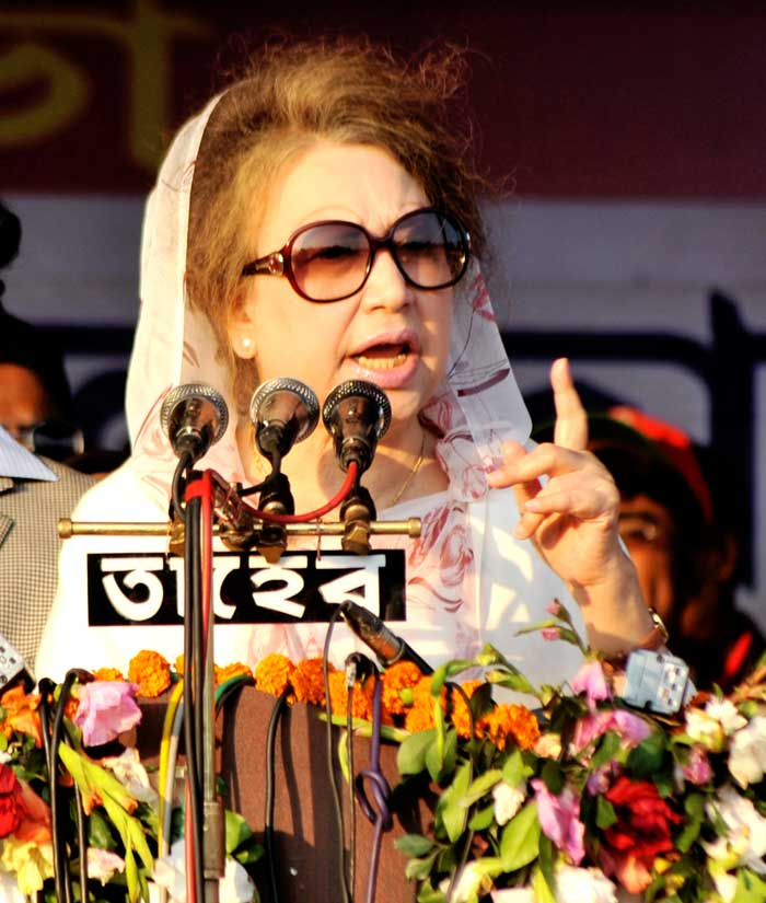Khaleda Zia today while addressing a rally on Shaheed Khushi Railway ground in Rajbari district town. Photo: Star