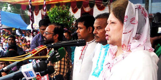 BNP Chairperson Khaleda Zia addresses a rally in Joypurgat. Photo: Star
