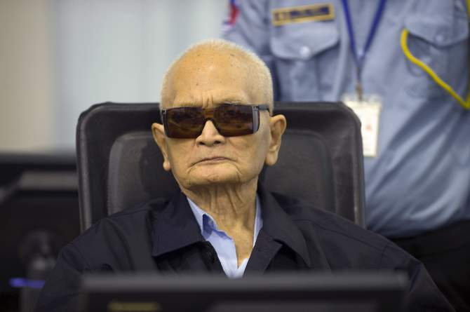 Former Khmer Rouge leader ''Brother Number Two'' Nuon Chea sits at the Extraordinary Chambers in the Courts of Cambodia (ECCC) as his verdict is delivered on the outskirts of Phnom Penh August 7, 2014 in this handout provided by ECCC. Photo: Reuters