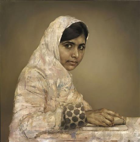 This undated AP photo issued September 10, 2013, by the British National Portrait Gallery, shows a painting by artist Jonathan Yeo depicting the teenager education activist Malala Yousafzai, doing her homework. The portrait of the young Pakistani girl who was shot by the Taliban for campaigning for girls' education is being sold by its British artist to help further her cause.