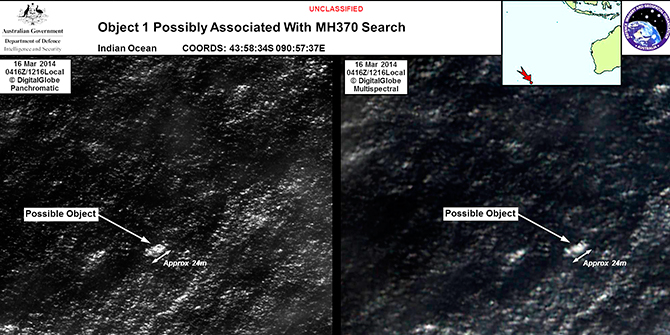 Satellite imagery provided to Australian Maritime Safety Authority (AMSA) of objects that may be possible debris of the missing Malaysia Airlines Flight MH370 in a revised area 185 km (115 miles) to the south east of the original search area in this picture released by AMSA on March 20. Photo: Reuters