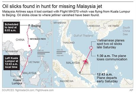 Map shows where missing plane departed, scheduled to land, the intended path and where it disappeared.; 3c x 3 inches; 146 mm x 76 mm. Photo: AP