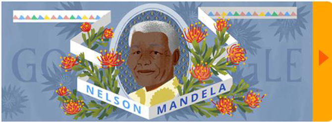 Nelson Mandela given illustration on Google's homepage to mark 96 years since his birth.