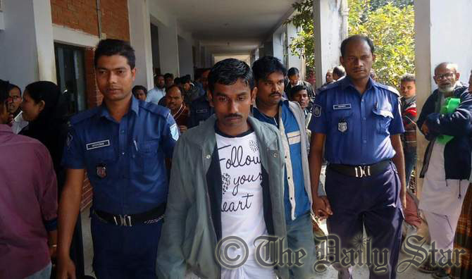 Driver Dipu Miah and helper Kashem Ali are taken to a Manikganj court, which sentenced them to life term imprisonment in a rape case Thursday. Photo: STAR