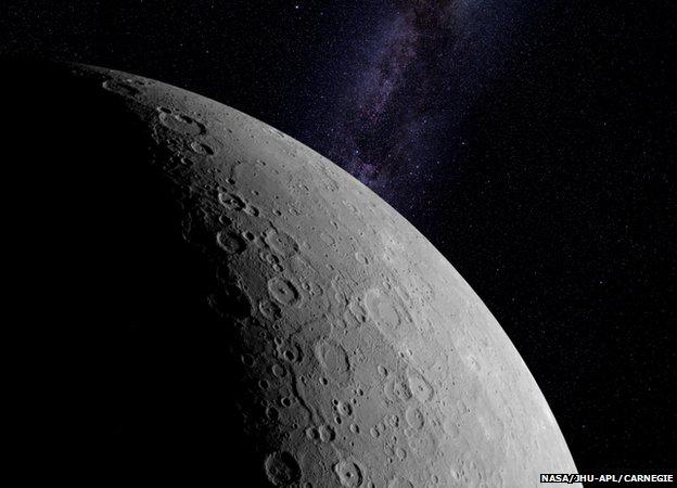 Mercury is 4,880km wide and is dominated by its giant iron core. Photo taken from BBC