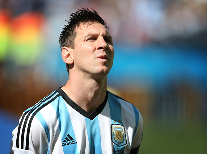Lionel Messi looks on during the 2014 FIFA World Cup Brazil Round of 16 match between Argentina and Switzerland at The Arena de Sao Paulo on July 01, 2014 in Sao Paulo, Brazil. Photo: Getty Images