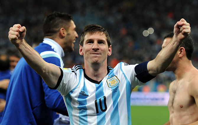 Lionel Messi of Argentina celebrates at full-time following the 2014 FIFA World Cup Brazil Semi Final match between Netherlands and Argentina at Arena de Sao Paulo on July 09, 2014 in Sao Paulo, Brazil. Photo: Getty Images