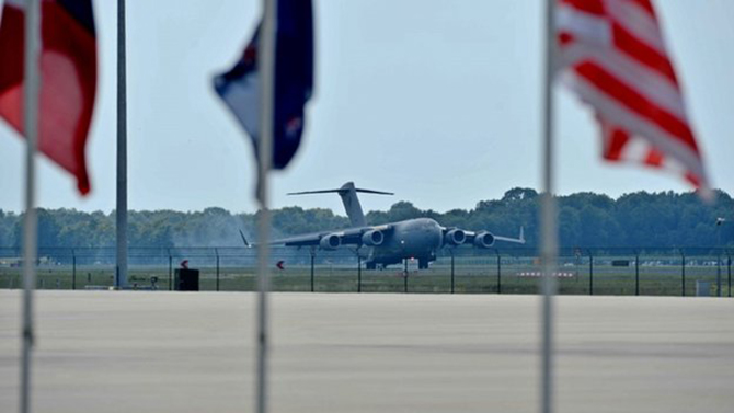 An Australian Air Force plane was one of two aircrafts transporting 74 coffins to the Netherlands on Thursday, JUly 24, 2014. Photo taken from BBC