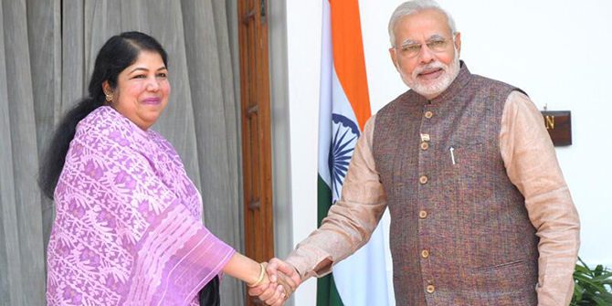 Indian Prime Minister Narendra Modi meets the Speaker of Bangladesh Parliament, Dr Shirin Sharmin Chaudhury at Hyderabad House on Tuesday. Photo taken from Press Information Bureau of India