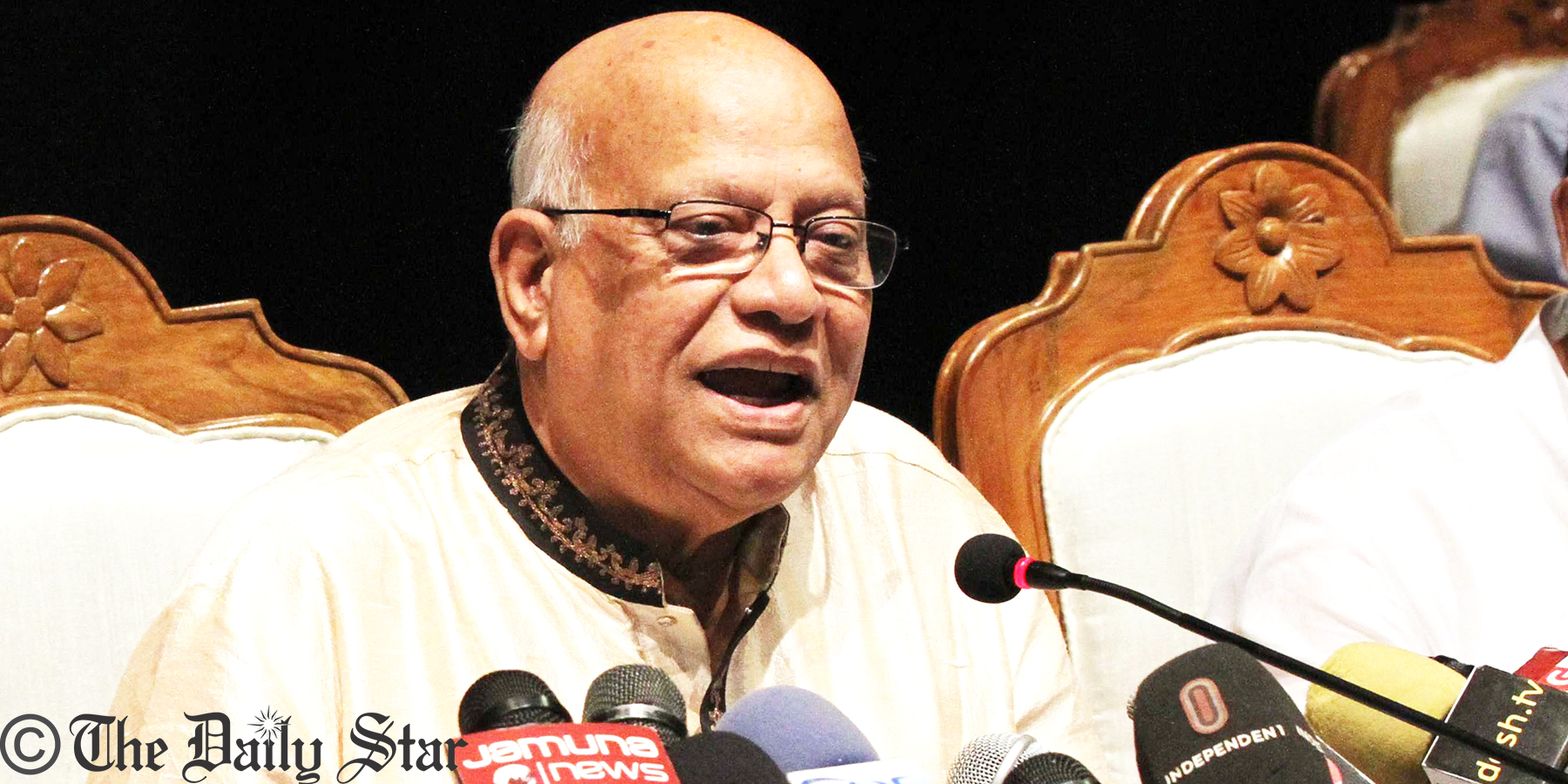 Finance Minister AMA Muhith speakes in a post-budget briefing in the Osmani Memorial Auditorium in the capital. Photo: Palash Khan