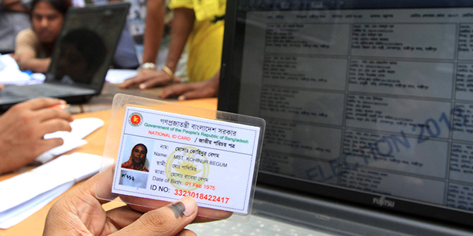 This Star photo taken on July 6, 2013 shows a national identity card is used to collect information on the voter during city corporation polls.