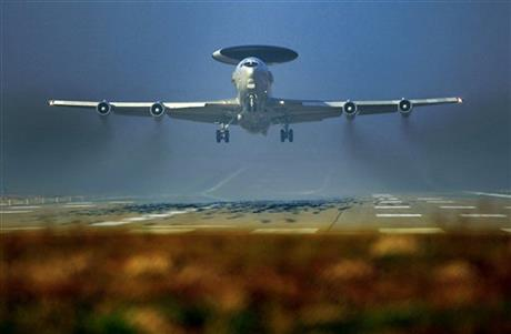 A Nato AWACS plane takes off the NATO Airbase in Geilenkirchen, Germany, Wednesday, March 12, 2014. AWACS planes flying out of Geilenkirchen to patrol over Romania and Poland. Photo: AP