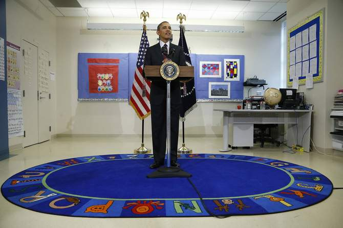 US President Barack Obama makes remarks on the budget during a visit to Powell Elementary School in Washington Tuesday. Photo: Reuters