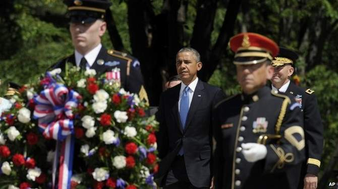 Mr Obama noted the terrible toll the Afghan war exacted when he led tributes on Memorial Day