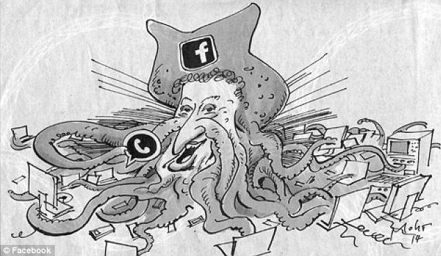 Zuckerberg Octopus: The cartoon was published in Süddeutsche Zeitung newspaper last week and has led to accusations of anti-Semitism. Photo taken from the Daily Mail
