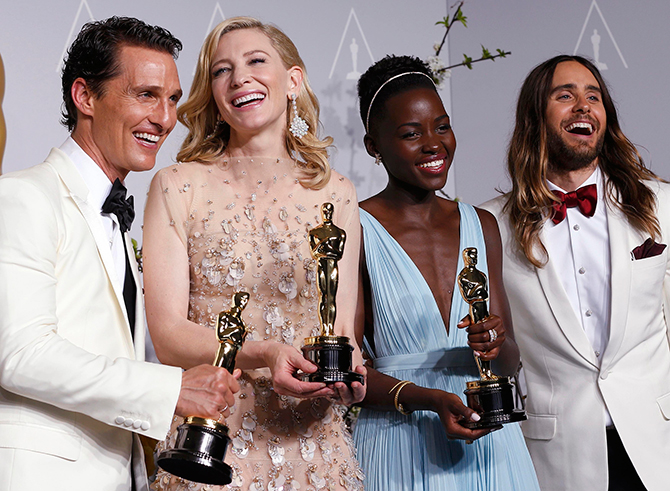 (L-R) Best actor winner Matthew McConaughey, best actress winner Cate Blanchett, best supporting actress winner Lupita Nyong'o and best supporting actor winner Jared Leto pose with their Oscars at the 86th Academy Awards in Hollywood, California on March 2. Photo: Reuters