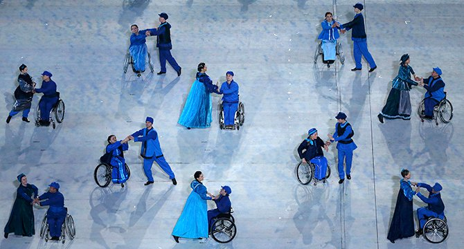Performers take part in the opening ceremony of the 2014 Paralympic Winter Games in Sochi March 7, 2014. Photo: Reuters