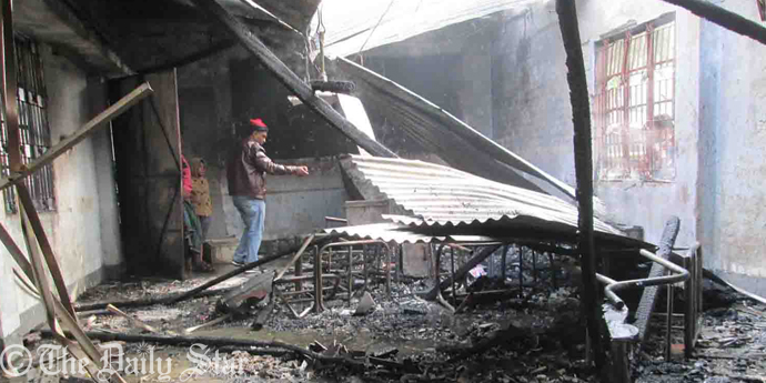 A district unit office of BNP is destroyed in a fire which was allegedly torched by ruling party men hours after an AL office was set ablaze by, as claimed, their arch rival in Pirojpur town this morning.