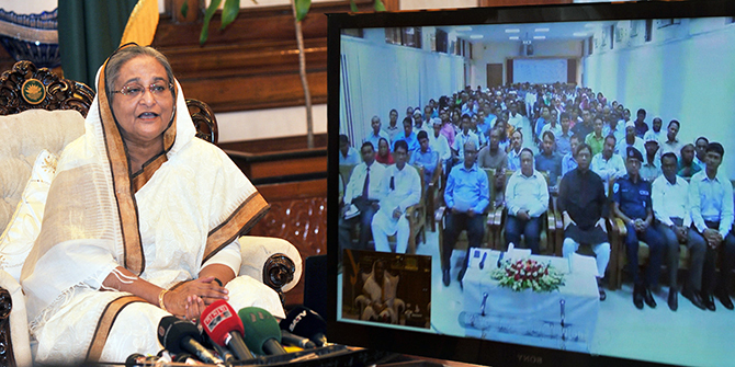 Prime Minister Sheikh Hasina on Wednesday talks to Dinajpur Education Board authorities in a video conference from Gana Bhaban on the occasion of publishing results of Higher Secondary Certifice (HSC) exams. Photo: Banglar Chokh