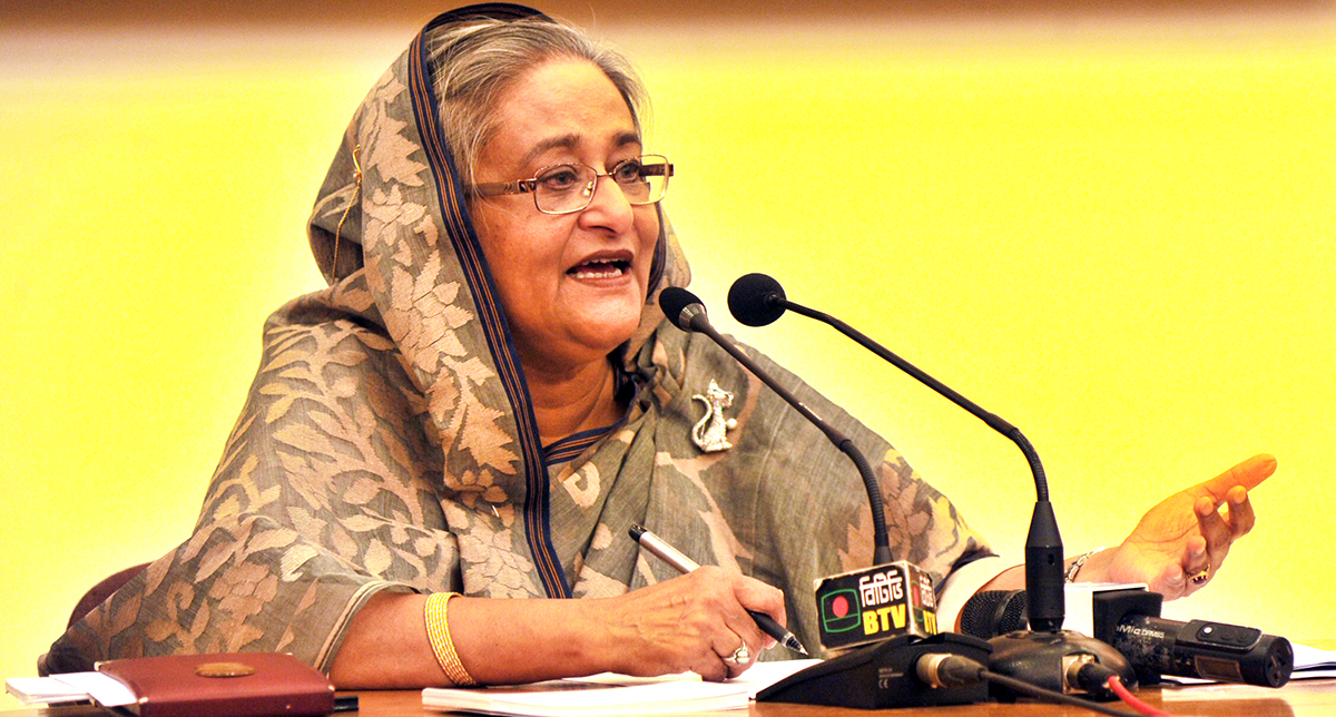 Prime Minister Sheikh Hasina briefs the media on her recent Japan visit at her official residence Gono Bhaban in the capital on Saturday. Photo: BSS