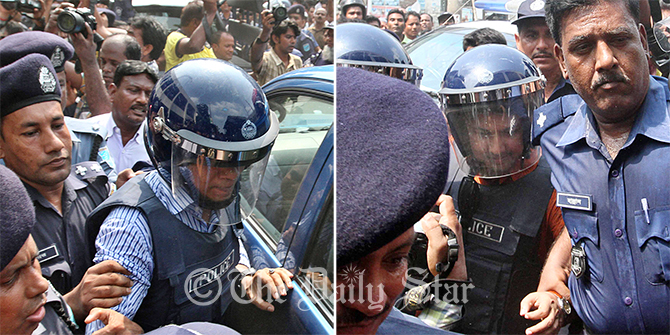 This Star file photo shows law enforcers bring out former Rab officials Lt Col Tareque Sayeed Mohammad (left) and Maj Arif Hossain of a court bulding in Narayanganj after a Senior Judicial Magistrate palced the duo on a five-day remand May 17.