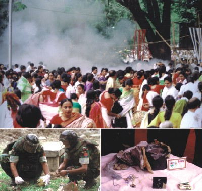 The complied photos taken on April 1, 2001 show panic-stricken men, women and children running for cover (top) after the huge explosion at the Ramna Batamul during Bangla New Year celebrations that left nine killed and at least 20 others injured. After the gory incident, while law enforcement and intelligence agencies collected remainder of the bomb and other clues to the explosion (left), an army team had to diffuse another bomb near the Baishakhi gate.