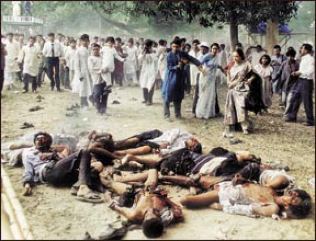 This Prothom Alo photo taken on April 14, 2001 shows the horrific aftermath of an explosion killing ten people and injuring many others at the Ramna Batamul in Dhaka during the celebration of Bangla new year Pahela Boishakh.