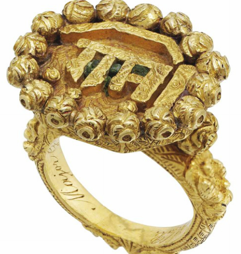 The ring, belonging to the Muslim ruler Tipu Sultan, was inscribed with the name of Ram, a Hindu God. Photo taken from Christie's website
