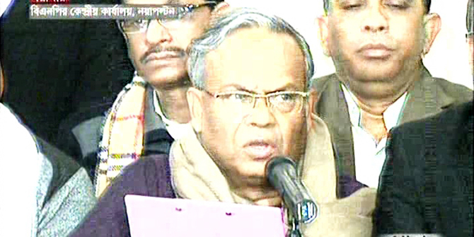 BNP Joint Secretary General Rizvi Ahmed addresses media at the party's headquarters in Nayapaltan of the capital. Photo: TV grab