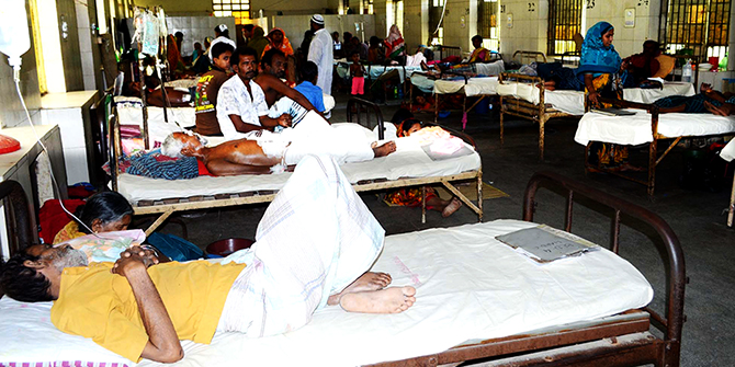 A ward full of patients but no interns looking after them at Rajshahi Medical College Hospital Monday. Star file photo