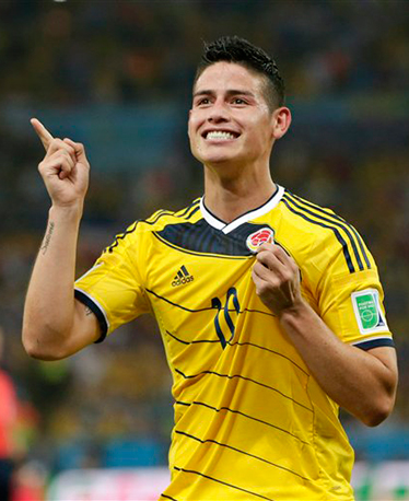 In this June 28, 2014, file photo, Colombia's James Rodriguez celebrates after he scored his side's second goal during the World Cup round of 16 soccer match between Colombia and Uruguay at the Maracana Stadium in Rio de Janeiro, Brazil. Photo: AP