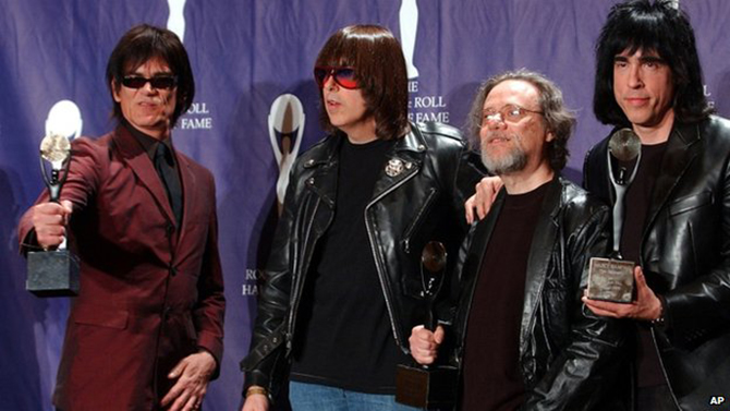 Tommy Ramone (2nd from right), is seen here with the band in 2002 after they were inducted at the Rock and Roll Hall of Fame