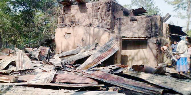 This January 17 photo shows a house of a Hindu family at Muhuripara of Satkania in Chittagong after criminals burnt it to the ground.