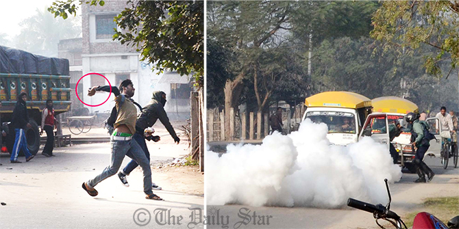 Shibir activists (L) hurl crude bombs targeting two human haulers carrying law enforcers which just arrived in Duspukur area of Rajshahi city on Thursday. The student wing of Jamaat brought out a procession there protesting death penalty for its ameer Motiur Rahman #Nizami in the #10_truck arms haul case. Photo: Star