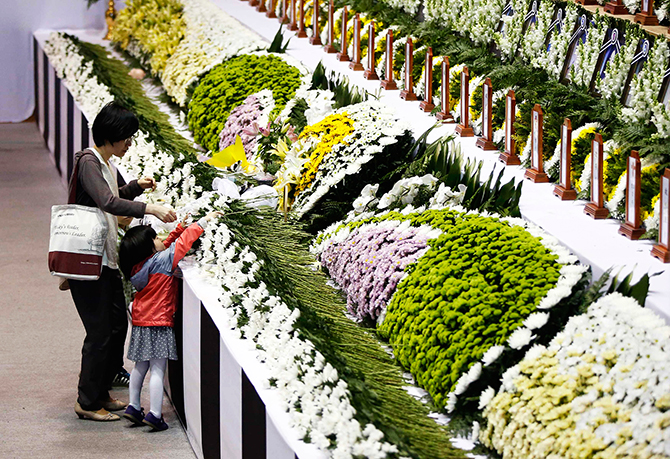 A family member pays floral tribute at a temporary group memorial altar for victims of capsized passenger ship Sewol in Ansan April 26, 2014. Photo: Reuters