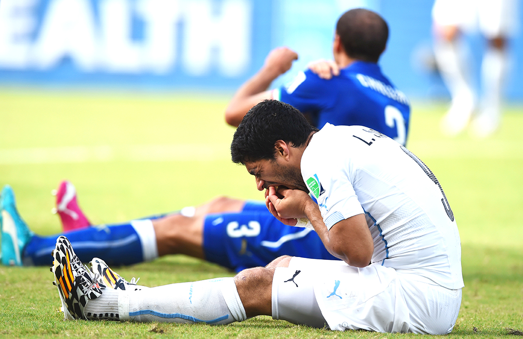 Luis Suarez of Uruguay and Giorgio Chiellini of Italy react after a clash during the 2014 FIFA World Cup Brazil Group D match between Italy and Uruguay at Estadio das Dunas on June 24, 2014 in Natal, Brazil. Photo: Getty Images