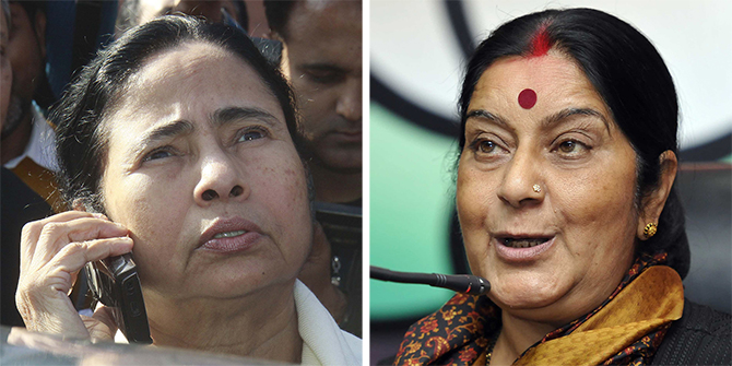 Mamata Banerjee and Sushma Swaraj. Getty Images
