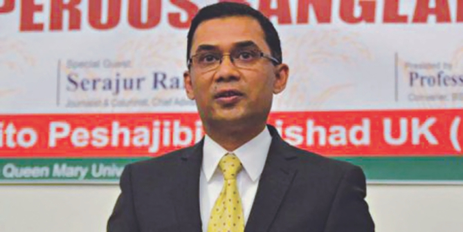 In this file photo, BNP Senior Vice Chairman Tarique Rahman addresses a programme in London. Photo: Courtesy