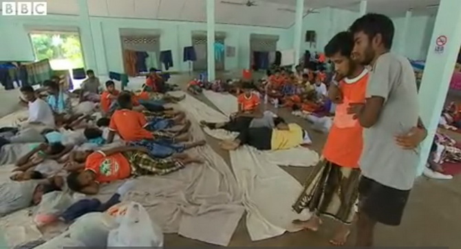 The rescued Bangladeshis are at a shelter in Thailand. Photo grabbed from BBC video