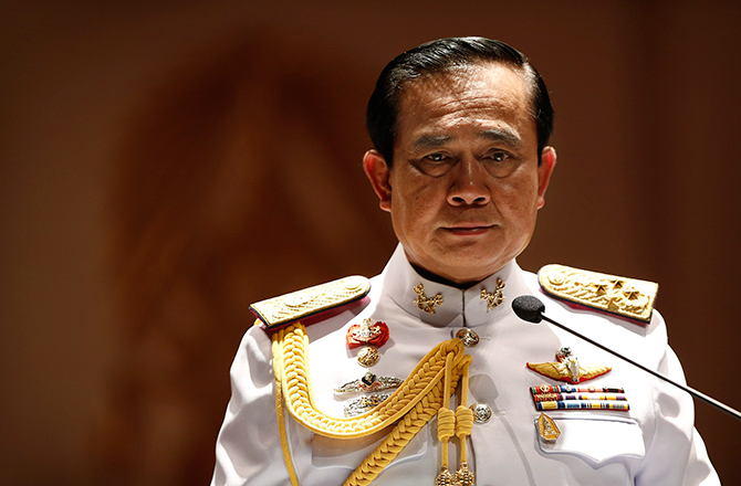 Thai Army chief General Prayuth Chan-ocha looks on during a news conference at Army Headquarters in Bangkok on Monday. Photo: Reuters