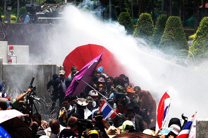 Protesters faced tear gas and water cannons as they targeted a government building. Photo: Reuters