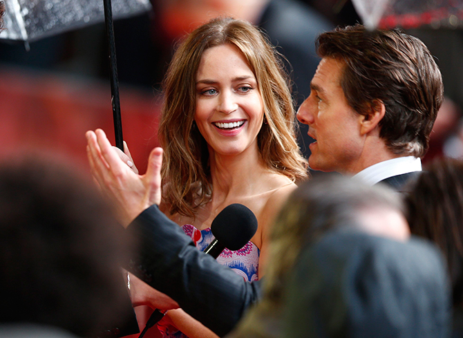 Actors Emily Blunt and Tom Cruise are interviewed at the world premiere of their film