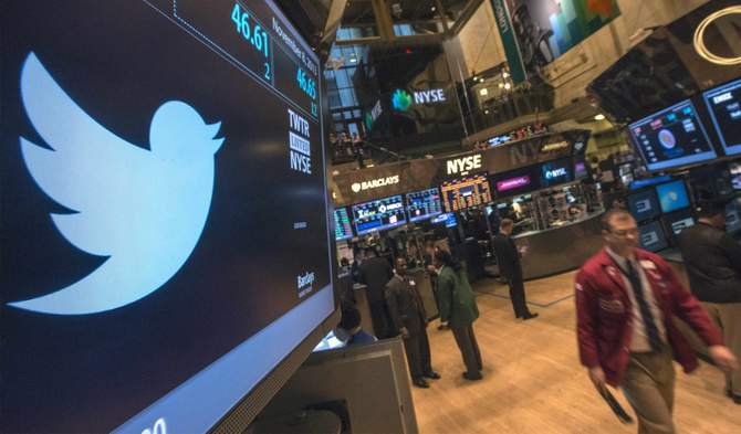 In this file photo taken November 8, 2013, the Twitter logo is displayed on the floor of the New York Stock Exchange. Twitter Inc made $243 million in revenue during the fourth quarter, topping investors' expectations in its first quarterly report as a public company.