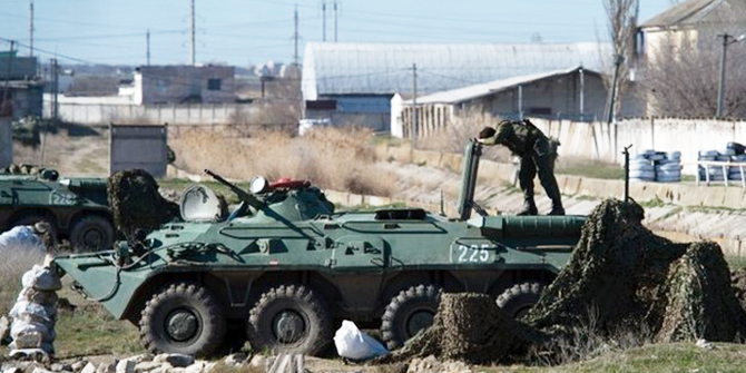 Russian troops had blocked access to the Feodosia base for some time before they attacked. Photo: Reuters