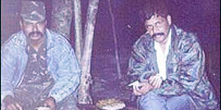 Paresh Barua (right) is seen with an Indian separatist leader in this photo taken from a blog.